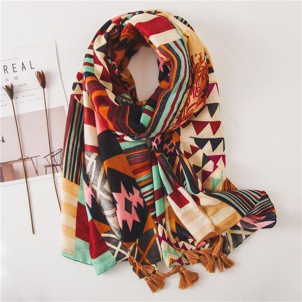 Color a juego viaje geométrico aire acondicionado protector solar algodón y lino bufanda damas chal bufanda bufanda NHGD188430