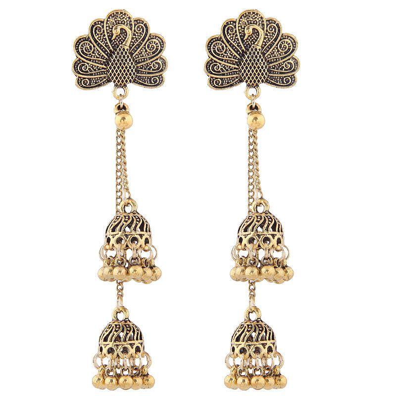 Vintage Bohemian Peacock Bell Spike Earrings NHSC188098