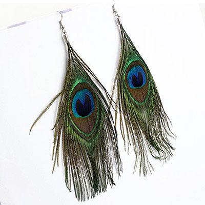Fashion Bohemian Peacock Feather Earrings NHSC188099's discount tags
