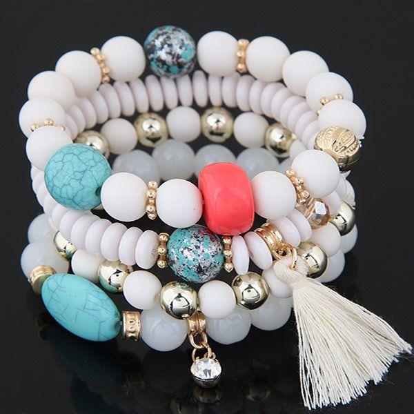 Simple wild candy bead fringed temperament multilayer bracelet NHSC188127