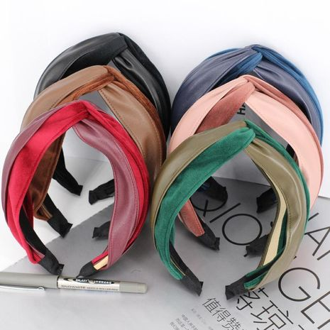 Korean retro velvet thickening knotted hairpin cross hair hoop Korean two-tone leather headband hair accessories NHDM188458's discount tags