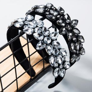 Hair accessories super flash inlaid glass diamond hair hoop female black velvet baroque flower headband NHLN188459's discount tags