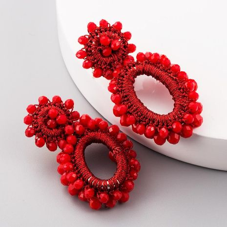 Hand Woven Bohemian Women's Earrings Hollow Oval String Beads Bohemian Earrings NHLN188462's discount tags