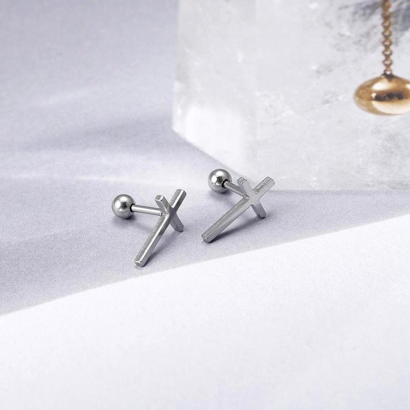 Titanium steel cross earrings ladies 2019 trendy earrings fashion one NHIM188499