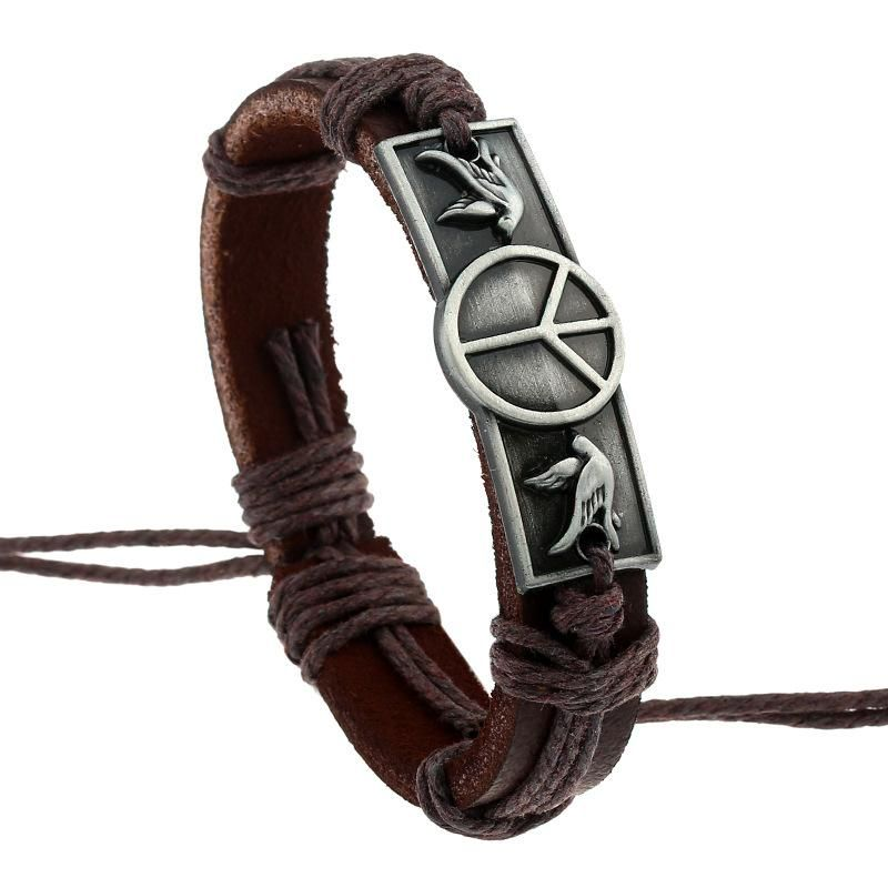 Braided alloy vintage bracelet peace sign cowhide bracelet handmade leather strap NHPK188529