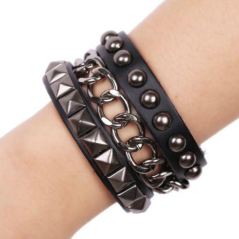 Punk leather bracelet rivet bracelet NHPK188531's discount tags