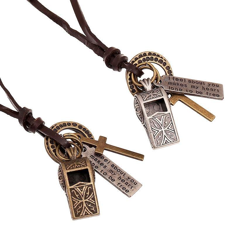 Vintage cowhide necklace alloy whistle long money chain NHPK188536