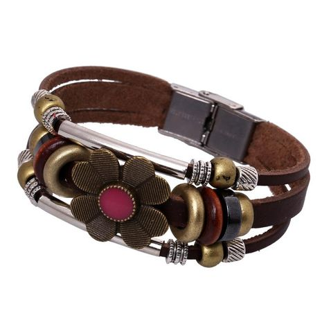 Hot selling beaded stainless steel buckle leather bracelet with adjustable length vintage handmade leather bracelet NHPK188545's discount tags