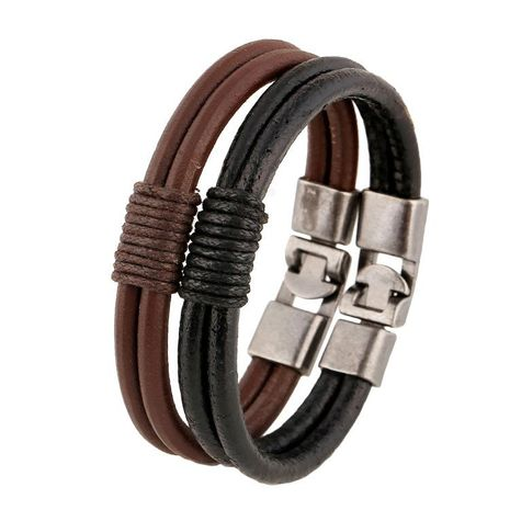 Cowhide leather bracelet men's accessories leather woven handmade leather men NHPK188552's discount tags