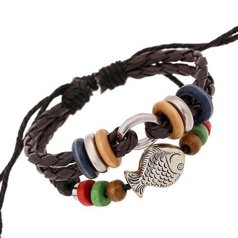 Alloy fish beaded leather bracelet hot recommended leather bracelet wholesale NHPK188556's discount tags