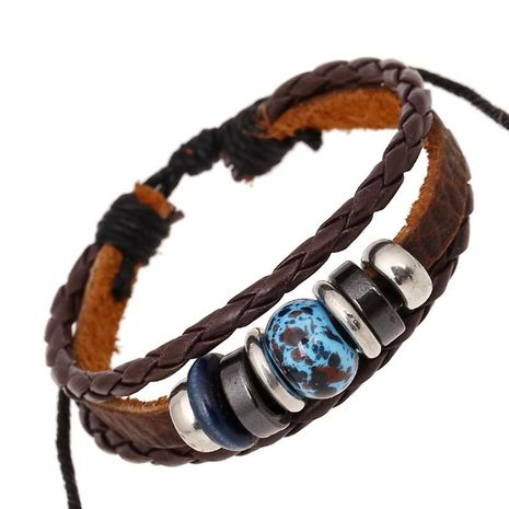 New retro leather bracelet beaded magnetic bead leather bracelet NHPK188557's discount tags