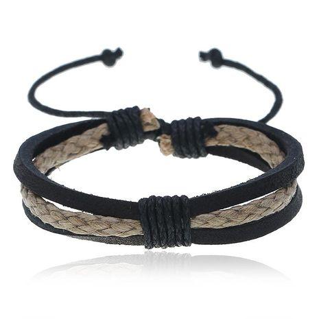 Vintage woven leather bracelet simple men and women jewelry bracelet NHPK188562's discount tags