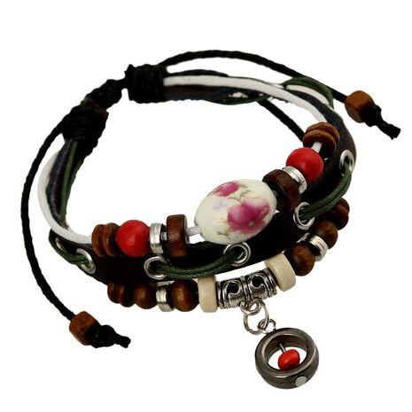 Leather bracelet wholesale handmade jewelry beaded leather bracelet NHPK188571's discount tags