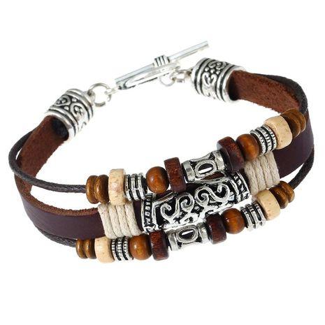 Punk handmade beaded leather bracelet NHPK188581's discount tags