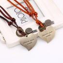 Vintage Long Peach Heart Cowhide Necklace Ladies Necklace Sweater Chain Leather Necklace NHPK188583