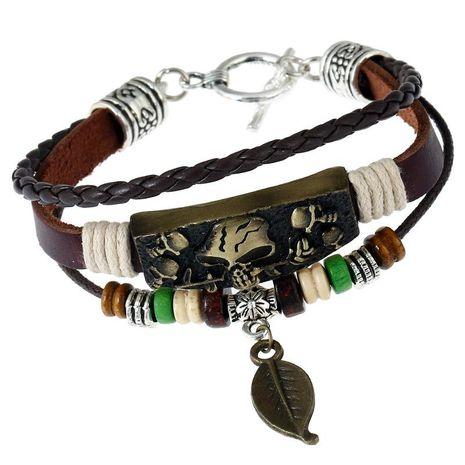 Handmade beaded retro bronze alloy cowhide bracelet couple jewelry NHPK188587's discount tags