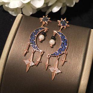 S925 Silver Star Moon Tassel Earrings Long Tassel Retro Baroque Eight-Star Earrings NHWK188605's discount tags