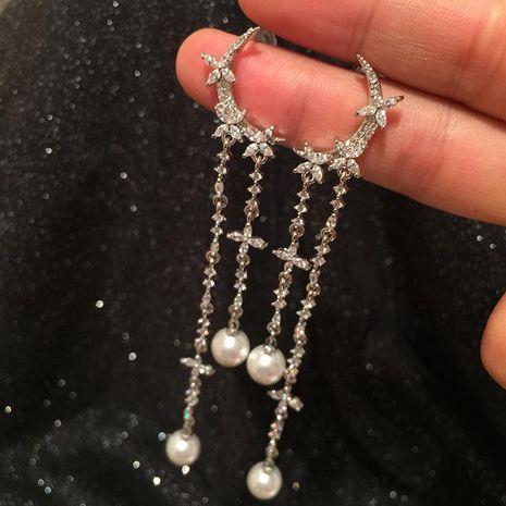 s925 silver rice word moon tassel earrings long tassel sweet earrings NHWK188608's discount tags