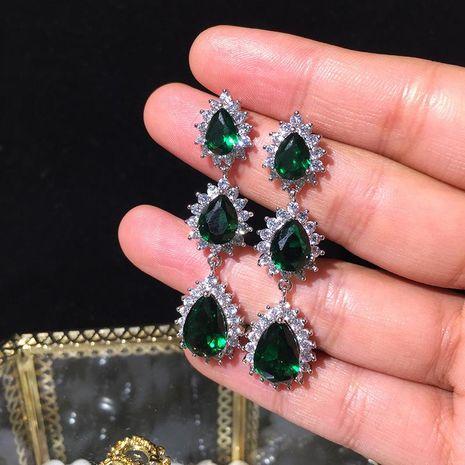 S925 Silver Needle Emerald Earrings Long Ultra Flash Accessories Water Drop Tassel Earrings NHWK188610's discount tags