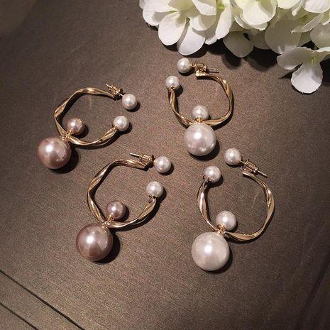 Fashion Double-sided Pearl Irregular Geometric Circle Earrings Sweet S925 Silver Earrings NHWK188611's discount tags