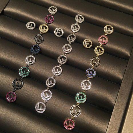 S925 Silver Colored Letter Circle Earrings Long Tassel Asymmetric Earrings NHWK188613's discount tags