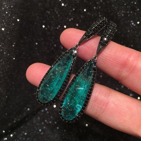 Black Crystal Earrings Women's Winter S925 Silver Tourmaline Drop Earrings NHWK188615's discount tags