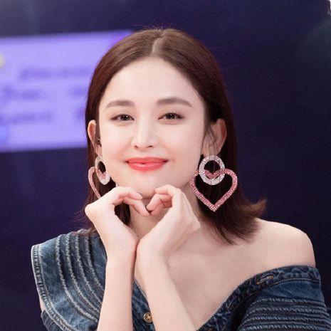 Geometric circle love earrings peach heart pink girl heart earrings s925 silver NHWK188620's discount tags