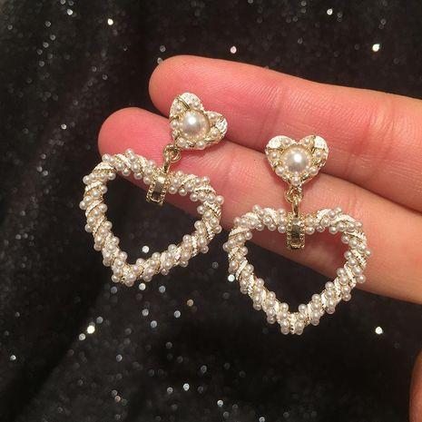 S925 Silver Pin Pearl Love Earrings NHWK188625's discount tags