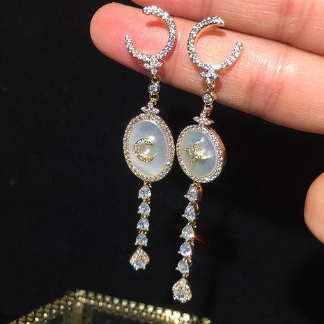 Earrings Long Tassel Earrings S925 Silver Needle Shell  NHWK188626's discount tags