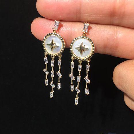 Luxury Octagon Star Shell Earrings Long Tassel Simple Earrings S925 Silver Pin NHWK188636's discount tags