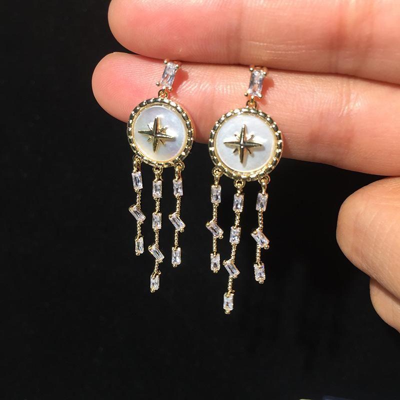 Luxury Octagon Star Shell Earrings Long Tassel Simple Earrings S925 Silver Pin NHWK188636