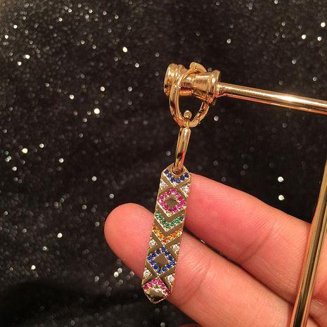 Creative gradient colored rhombus strip earrings NHWK188645's discount tags