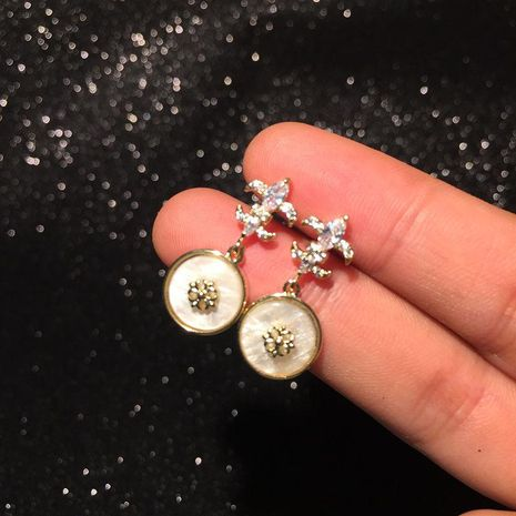 Fashion vintage baroque cross earrings shell earrings NHWK188653's discount tags