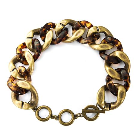 New alloy leopard acetate plate whip chain personality NHJE188678's discount tags