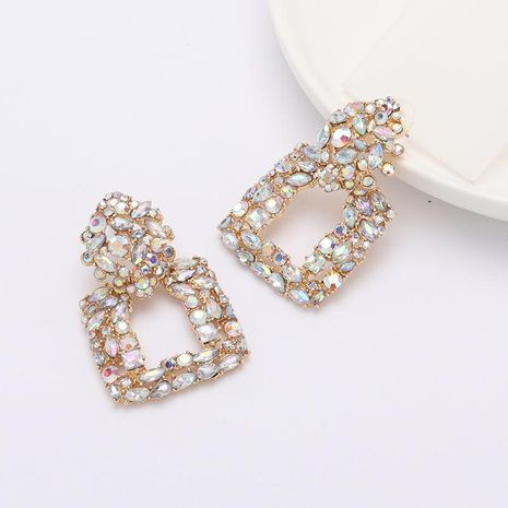 Fashion square multilayer alloy diamond AB color full diamond earrings female cold style earrings NHJE188685's discount tags