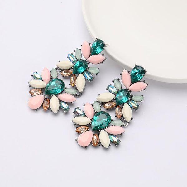 Multi-layer alloy diamond glass flower floral earrings NHJE188689