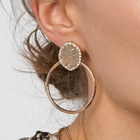 Alloy diamond earrings fashion geometric earrings simple earring accessories wholesale NHJQ188693's discount tags