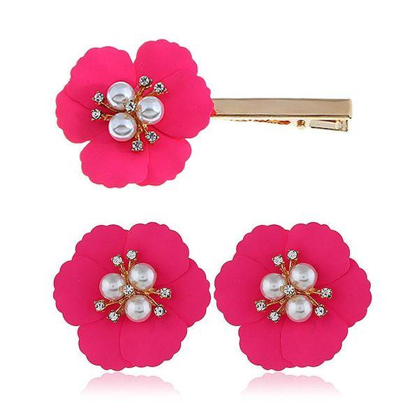 Fashion Alloy Flower Pearl Earrings Hair Clip Combination Set Multicolor Earrings Hair Accessories Wholesale NHVA188719