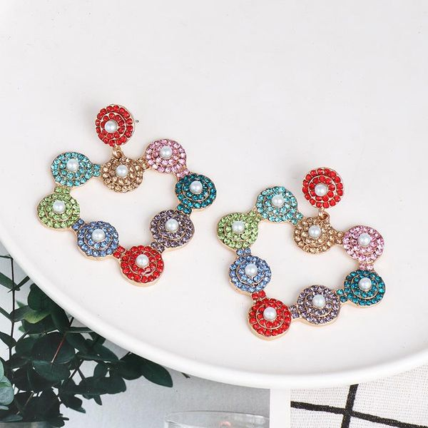 Exaggerated colorful diamond earrings personalized heart-shaped women's crystal earrings earrings NHJJ188730