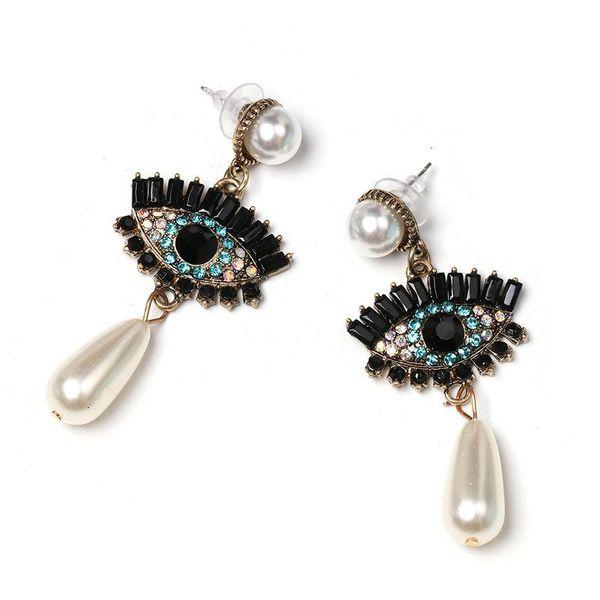 Personalized Big Eye Studs Fashion Retro Shiny Zircon Pearl Earrings NHJJ188735
