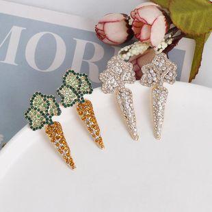 Fashion personality earrings female temperament full diamond vegetable carrot earrings NHJJ188743's discount tags