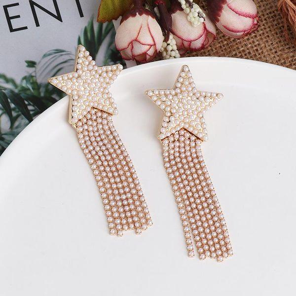 Women's new geometric pentagram diamond earrings NHJJ188744