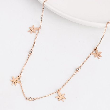 Minimalist Maple Leaf Clavicle Rose Gold Necklace NHJJ188756's discount tags