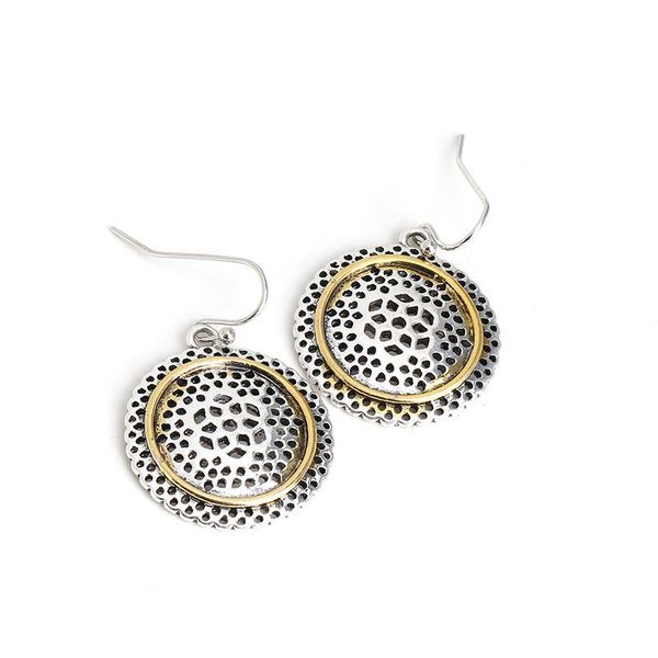 Silver vintage round ethnic cutout earrings NHJJ188769