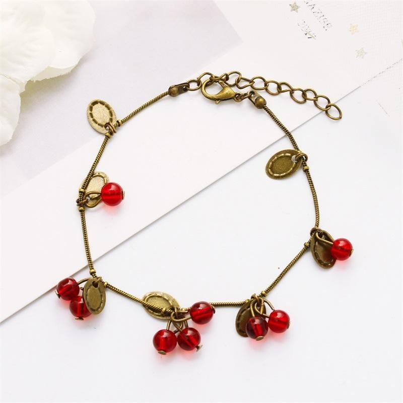 Wholesale Vintage Sweet Little Cherry Bracelet Fashion Gift Bracelet wholesales fahsion NHDP183730
