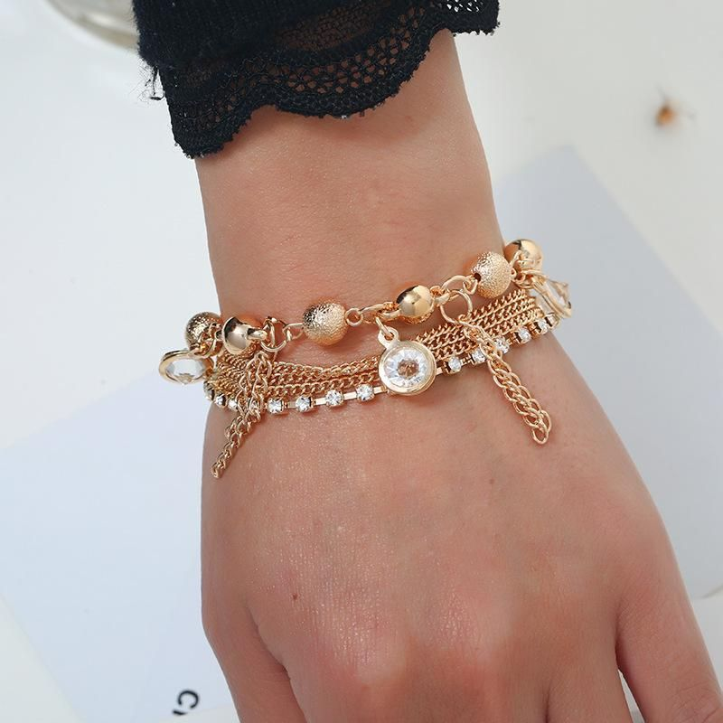 Fashion multi-layer bracelet handmade beaded jewelry personality popular metal explosion bracelet NHKQ183500
