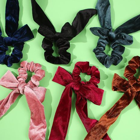 Fashionable wild bow cloth hair ring ladies autumn and winter new solid color bowel headband NHMD183551's discount tags