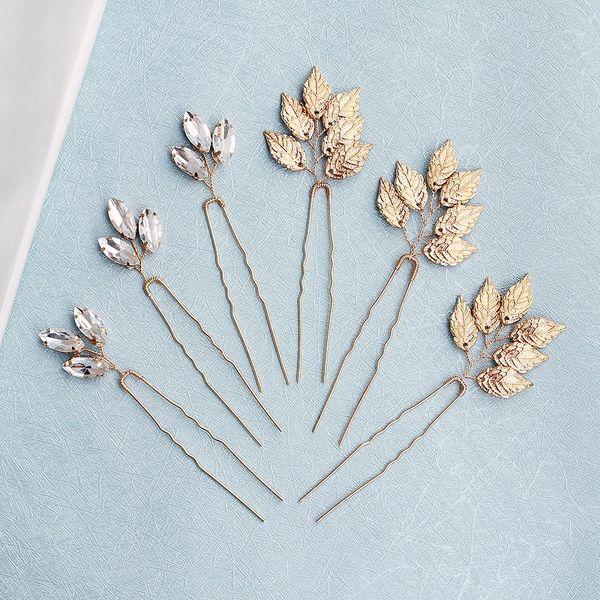 Headdress alloy leaves simple dish hair buns high-grade rhinestone bridal wedding jewelry NHHS183595