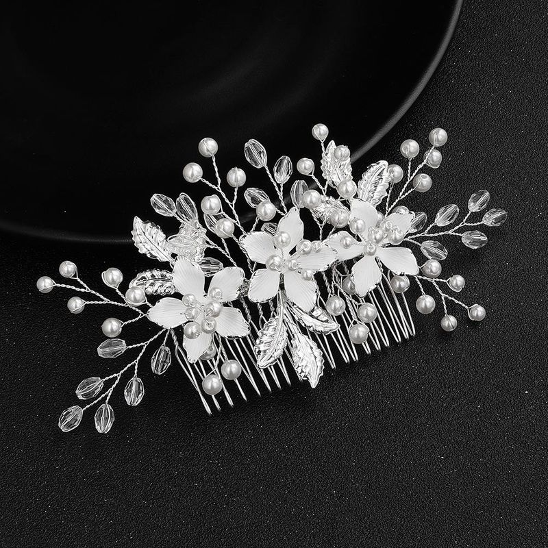Jewelry handmade temperament high-end insert comb thin coated alloy flower head hair ornaments NHHS183580