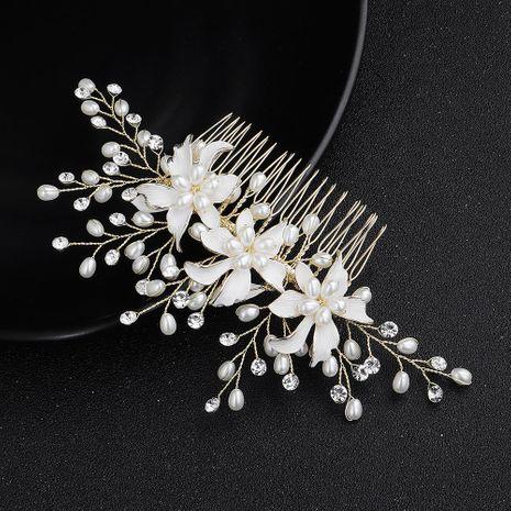 Joyería nupcial hermosas flores de aleación peine insertado peine hecho a mano perla peine vestido tocado NHHS183581's discount tags